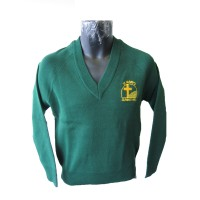 POLY COTTON KNITTED V-NECK JUMPER